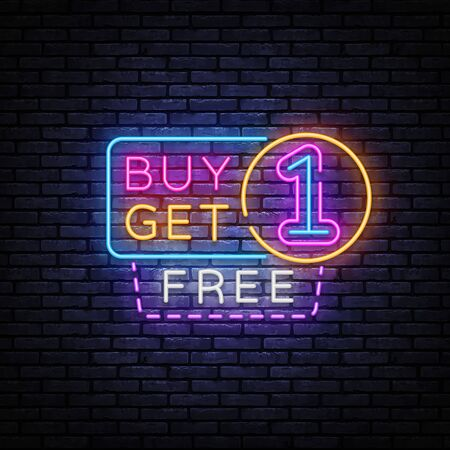 Buy Get One Free Neon Sign Vector. Sale Neon inscription, design template, modern trend design, night signboard, night bright advertising. Vector illustration. Çizim
