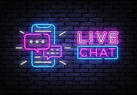 Live chat service neon sign vector. Social media communication, Design template neon sign, light banner, nightly bright advertising. Vector illustration.