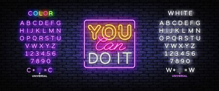 You Can do IT Neon inscription. Motivation Neon sign, design template, modern trend design, night signboard, night bright advertising, light banner, light background. Vector. Editing text neon sign.