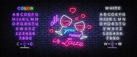 All you need is love neon sign vector design template. Love conception with wine, neon light banner design element colorful modern design trend. Vector illustration. Editing text neon sign.
