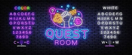 Escape room neon sign vector. Quest room Design template, light banner, night signboard, nightly bright advertising, light inscription. Vector illustration. Editing text neon sign.