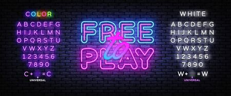 Free to Play Neon Text Vector. Play Game neon sign, design template, modern trend design, night signboard, night bright advertising, light banner, light art. Vector. Editing text neon sign. Foto de archivo - 147747266