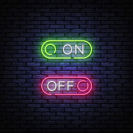 Button On Off neon sign vector design template. Button On Off neon design, light banner, design element, night bright advertising, bright sign. Vector illustration.
