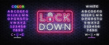 Lock Down neon sign vector. Protection Neon Design template, light banner, night signboard, nightly bright advertising, light inscription. Vector illustration. Editing text neon sign Çizim