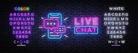 Live chat service neon sign vector. Social media communication, Design template neon sign, light banner, nightly bright advertising. Vector illustration. Editing text neon sign.