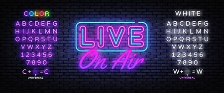 Live on Air Neon Text Vector. Radio On Air neon sign, design template, modern trend design, night signboard, night bright advertising, light banner, light art. Vector. Editing text neon sign.