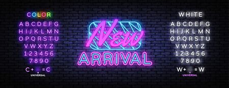New Arrival neon sign vector. New Collection Design template neon sign, light banner, nightly bright advertising, light inscription. Vector illustration. Editing text neon sign. Çizim
