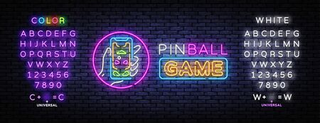 Pinball game neon sign vector design template. Pinball game in smartphone, neon concept, light banner, design element, night bright advertising, bright sign. Vector. Editing text neon sign.