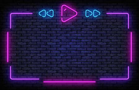 Playlist Neon Frame Vector. Music neon sign, design template, modern trend design, night signboard, night bright advertising, light banner, light background. Vector illustration