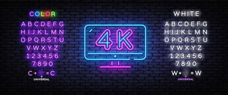 4k Quality Video neon sign vector. Monitor 4k Design template neon sign, light banner, nightly bright advertising, light inscription. Vector illustration. Editing text neon sign