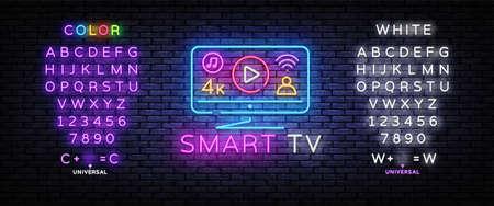 Smart TV neon sign vector design template. Smart TV Monitor neon design, light banner, design element, night bright advertising, bright sign. Vector illustration. Editing text neon sign Illusztráció