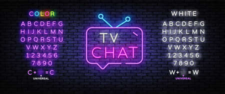 TV Chat neon sign vector. Chat robot template neon sign, light banner, nightly bright advertising, light inscription. Vector illustration. Editing text neon sign