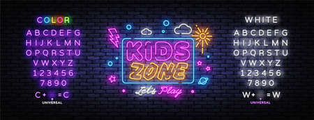 Kids Zone neon banner vector design template. Place for fun and play neon light banner, design element, night bright advertising, bright sign. Vector illustration. Editing text neon sign