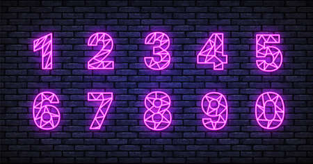 Number neon in realistic style on isolated background. Vector illustration design element set. Vintage number neon, great design for any purposes. Set on light backdrop Illusztráció