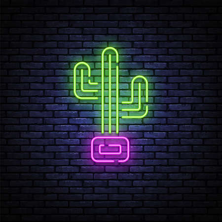 Cactus neon sign in retro style on light background. Retro icon with cactus neon. Color illustration. Bright summer poster. Bright summer poster. Isolated vector graphic illustration