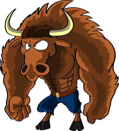 mythological: Cartoon Minotaur character Illustration