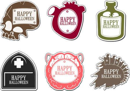 Set of Happy Halloween labels Vector