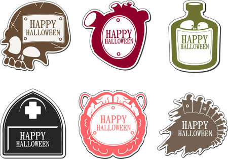 Set of Happy Halloween labels