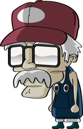 Comic grandpa cartoon Vector