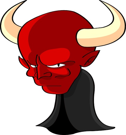 cartoon illustration of a head and shoulder figure of Satan or the Devil with large horns and an evil fiery red face illustration