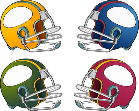 Four football helmets in different colors on gray background  Stock Photo
