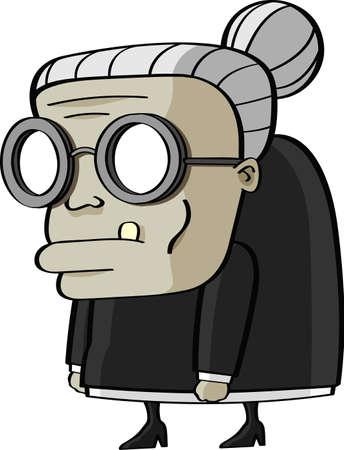 Comic granny cartoon on gray background Stock Photo - 15649048