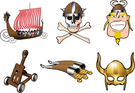 Vikings and Norsemen icons with a longship, pirates, Viking and a helmet from medieval times when Norsemen plundered Europe