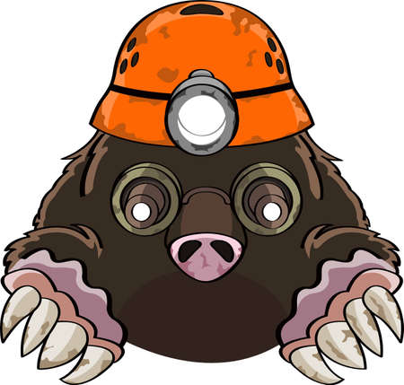 a cute liitle cartoon mole digging his way through the earth wearing a helmet with a light