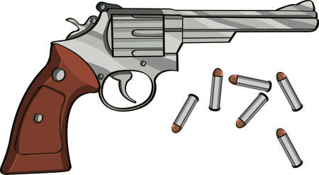 Revolver gun and bullets on gray background