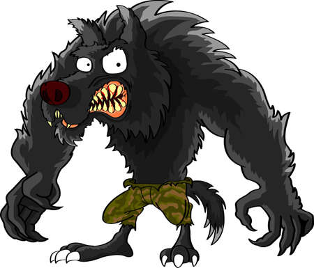 Angry wolf cartoon on gray background