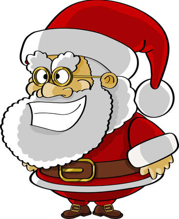Funny Santa cartoon isolated on white Stock Photo
