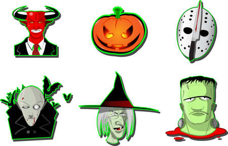 Set of six different Halloween  icons with a witch, vampire, frankenstein monster, pumpkin and devil isolated on white