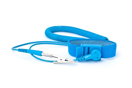 grounding: antistatic(esd) wrist strap for preventing electrostatic discharge on electronic equipment Stock Photo