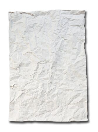 crumpled paper isolated on white background photo