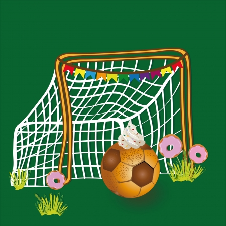 Soccer ball net, which is depicted in the form of a pie, about grid grow donuts  Vector
