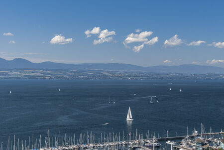 leman: Port of Thonon-les-Bains and Lake Leman in France