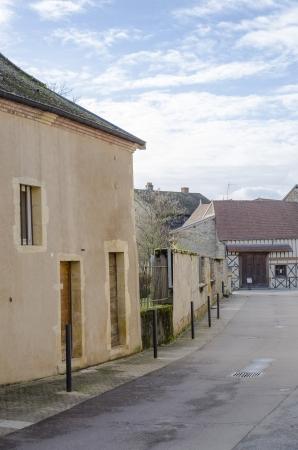 burgundy colour: Old street in Paray-Le-Monial, Saone-et-Loire, burgundy, France  Colour, vertical