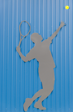 An tennis player, concept background, type of ball game played with racquets, concept bottom, Colour,  vertical Stock Photo - 25106383