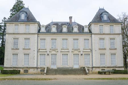 burgundy colour: the Castle Puzenat in Bourbon-Lancy, Burgundy, France, colour, horizontal
