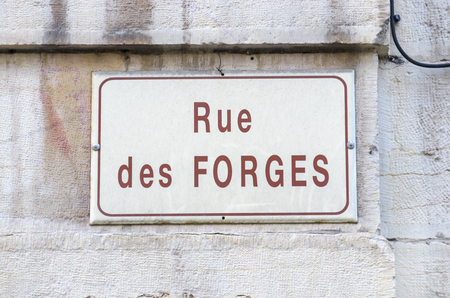 sign of name of street, Rue des Forges, Dijon, France, Burgundy photo