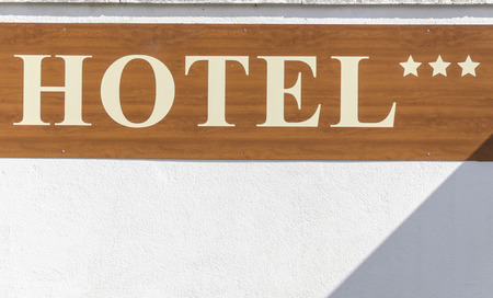 hollidays: Sign of Hotel     Stock Photo