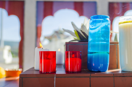 workship: an candle in buddhist temple, color, vertical
