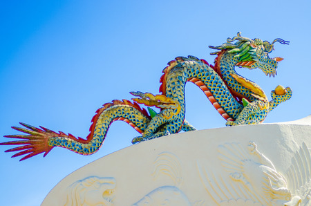 dragon vertical: an dragon in a buddhist temple, color, vertical Stock Photo