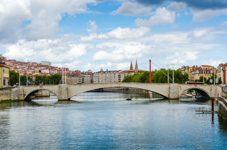 the Bonaparte Bridge, Lyon, France, color, horyzontal Banque d'images