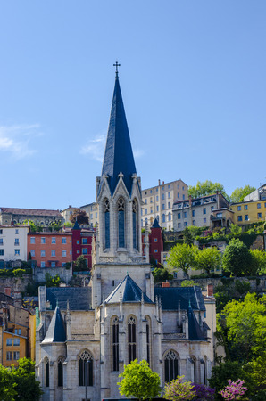 Church in Lyon, France, Fourviere, Color, vertical