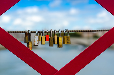 the love-locks on a bridge of Lyon, France, Color, horyzontal Éditoriale