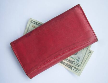 Red wallet with dallar money