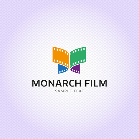 Monarch Film production logo design. Colorful butterfly celluloid vector sign template for video, movie and cinema. Simple and clear logotype concept
