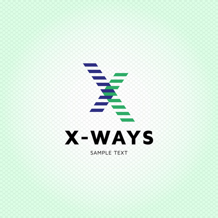 Letter X  design template. Abstract X-Ways cross symbol illustration. Colorful vector X  with geometric crossing stripes