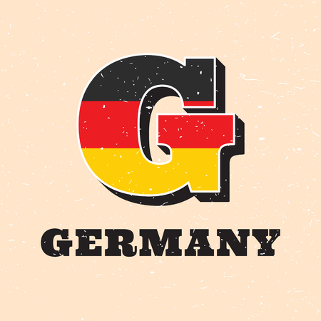 Vector letter G logo design for german flag. Germany national icon template. Worldwide country symbol alphabet isolated on color background